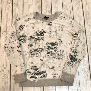 Black Orchid Gray Distressed Inside Out Sweatshirt